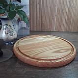 Доска для пиццы 30 см. круглая кухонная разделочная доска деревянная из ясеня, дуба РД-20, фото 8