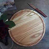 Доска для пиццы 30 см. круглая кухонная разделочная доска деревянная из ясеня, дуба РД-20, фото 2