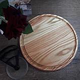 Доска для пиццы 30 см. круглая кухонная разделочная доска деревянная из ясеня, дуба РД-20, фото 10