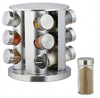 Набор емкостей баночек для специй на вращающейся подставке карусель 12 шт Spice Carousel