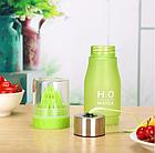 Бутылка для воды и напитков H2O Water Bottle с соковыжималкой 650 мл Зеленый, фото 4