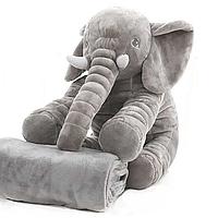 Мягкая игрушка Слон с пледом BabySweet 60 см игрушка подушка, плед 1 х 1,6 м Grey (3476012-FL)