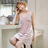 Сорочка ночная женская бархатная кружевная. Комбинация с кружевом. Ночная рубашка, размер L (розовая)