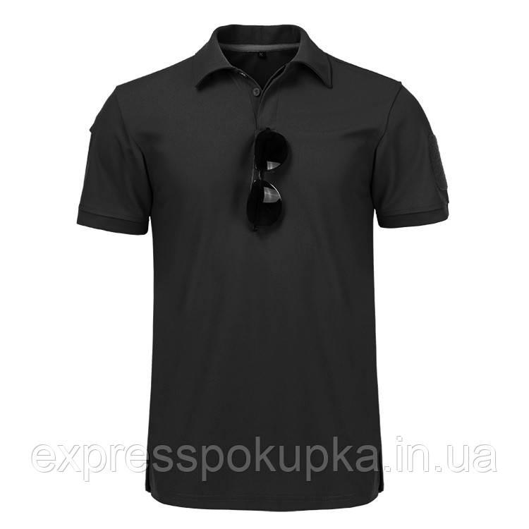 Тактическая футболка поло с коротким рукавом Черная (M)