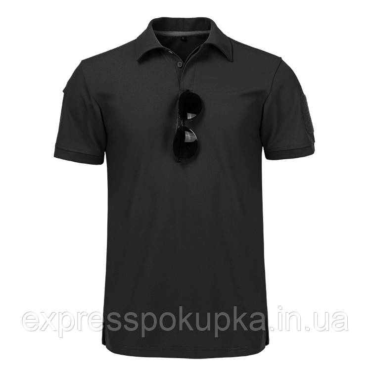 Тактическая футболка поло с коротким рукавом Черная (XL)