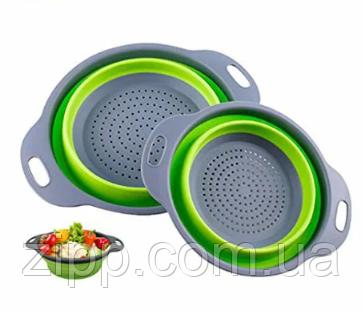 Дуршлаг силиконовый складной 2 шт в комплекте (большой + маленький) Collapsible filter baskets Зеленый