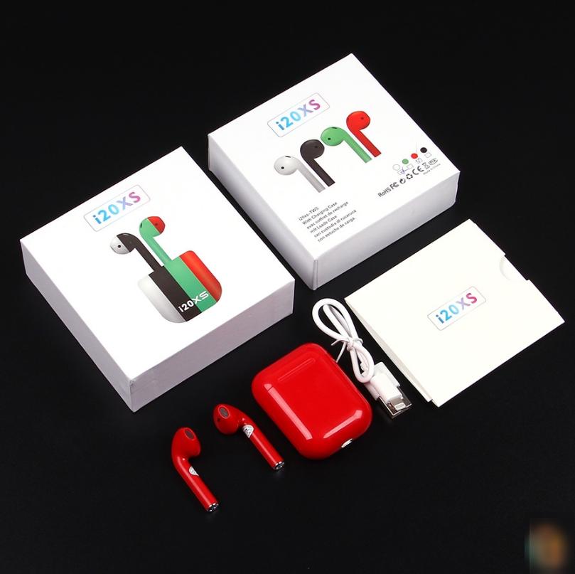 Беспроводные наушники i20xs TWS цветные, сенсорные наушники Bluetooth, белые наушники беспроводные