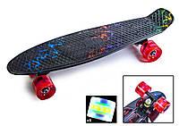 Детский пенни борд 22 дюйма с рисунком Светящиеся колеса Скейт Молния 55х15 см до 80 кг пластиковый, фото 1