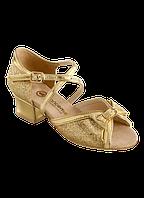Туфли для бальных танцев с бантом блок-каблук