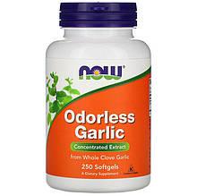 """Экстракт чеснока NOW Foods """"Odorless Garlic"""" концентрированный, без запаха (250 гелевых капсул)"""