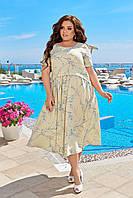 Летнее легкое платье женское большого размера 50,52,54,56, короткий рукав, Цвет Светлый лимон