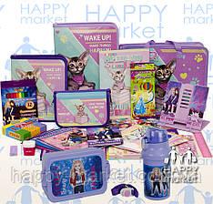 Набір шкільний подарунок першокласнику Kidis 19 предмета Кішки 7-2