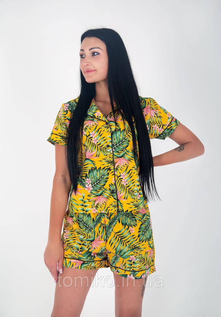 Пижама шелковая шорти с рубашкой