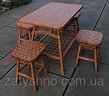 Плетеная мебель с табуретками|  Комплект плетеной мебели на 4 персоны  | мебель из лозы плетеная