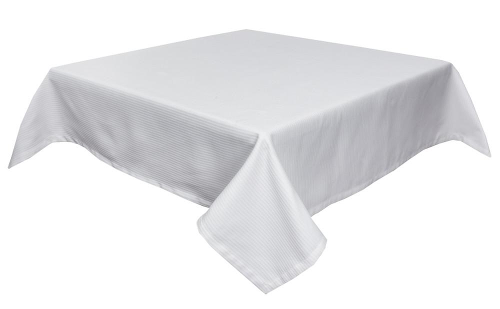 Скатерть LiMaSo 134*240 см полиэстер белая в полоску арт.CANDY 014 -240.134х240