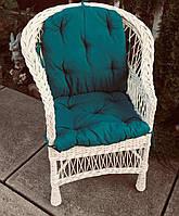 Кресло плетеное с накидкой  | кресло из лозы белое | кресло из лозы с подушкой