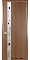 Двери межкомнатные ПВХ Delux Квадра Злата+Р1  Новый Стиль со стеклом сатин 60, 70, 80, 90