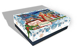 Картонная упаковка новогодняя Святой Николай, на вес до 1кг, от 1 штуки