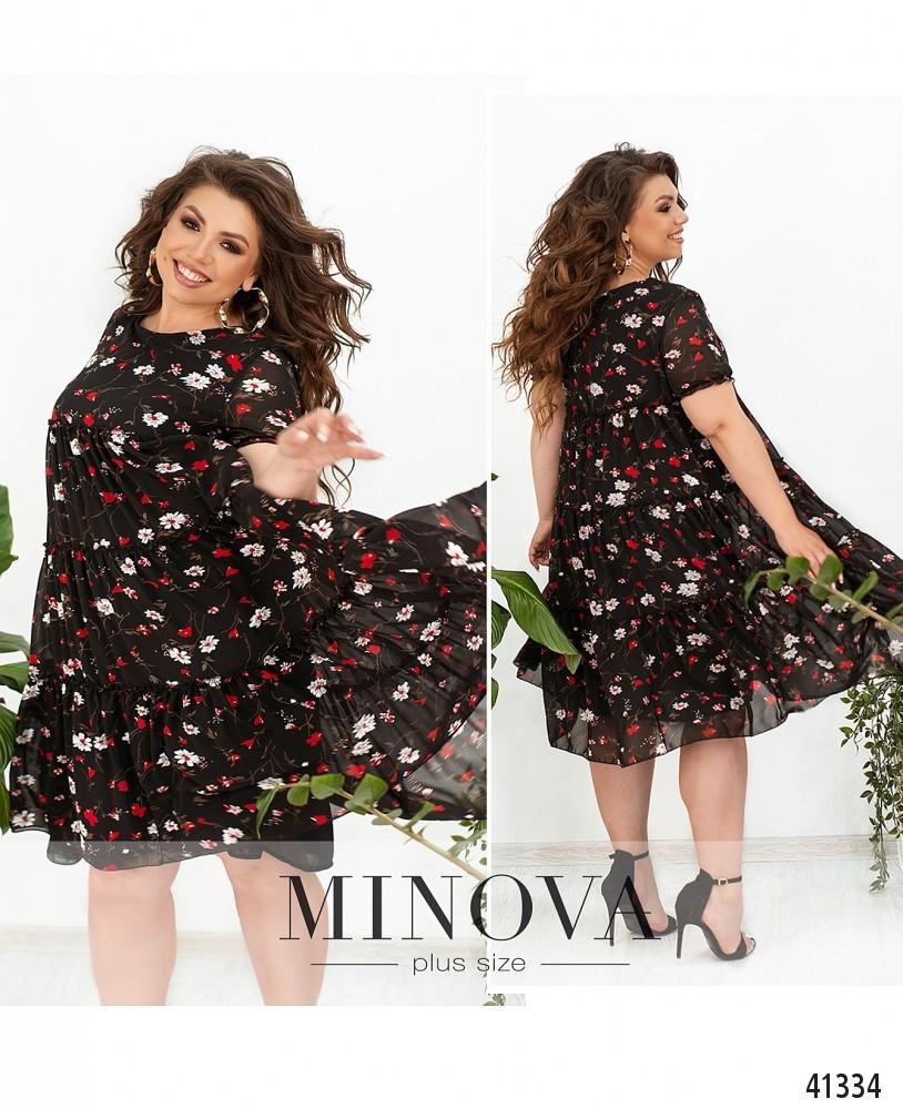 Свободное шифоновое платье в крупный цветок батал Размеры: 50.52.54.56.58.60.62.64.