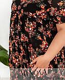 Свободное шифоновое платье в крупный цветок батал Размеры: 50.52.54.56.58.60.62.64., фото 3