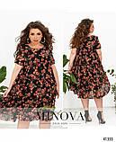 Свободное шифоновое платье в крупный цветок батал Размеры: 50.52.54.56.58.60.62.64., фото 4