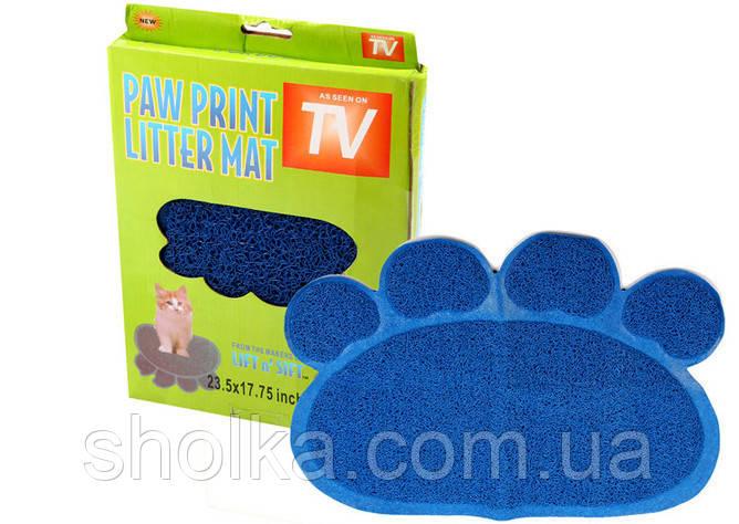 Коврик для питомца Paw Print Litter Mat Синий