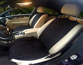Накидка чехол на сидения автомобиля из Алькантары Эко-замша один универсальный защитный авточехол Черная 1 шт, фото 3
