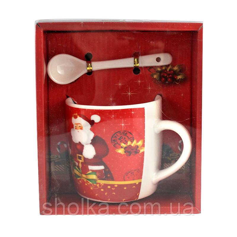 Чашка с ложечкой в подарочной упаковке Merry Christmas