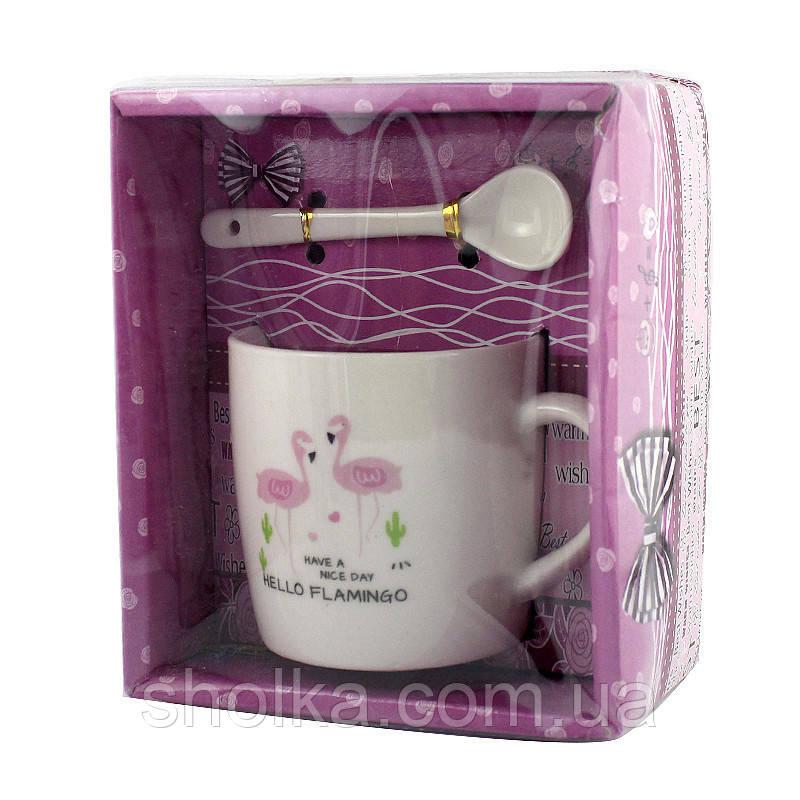 Чашка с ложечкой в подарочной упаковке Flamingo