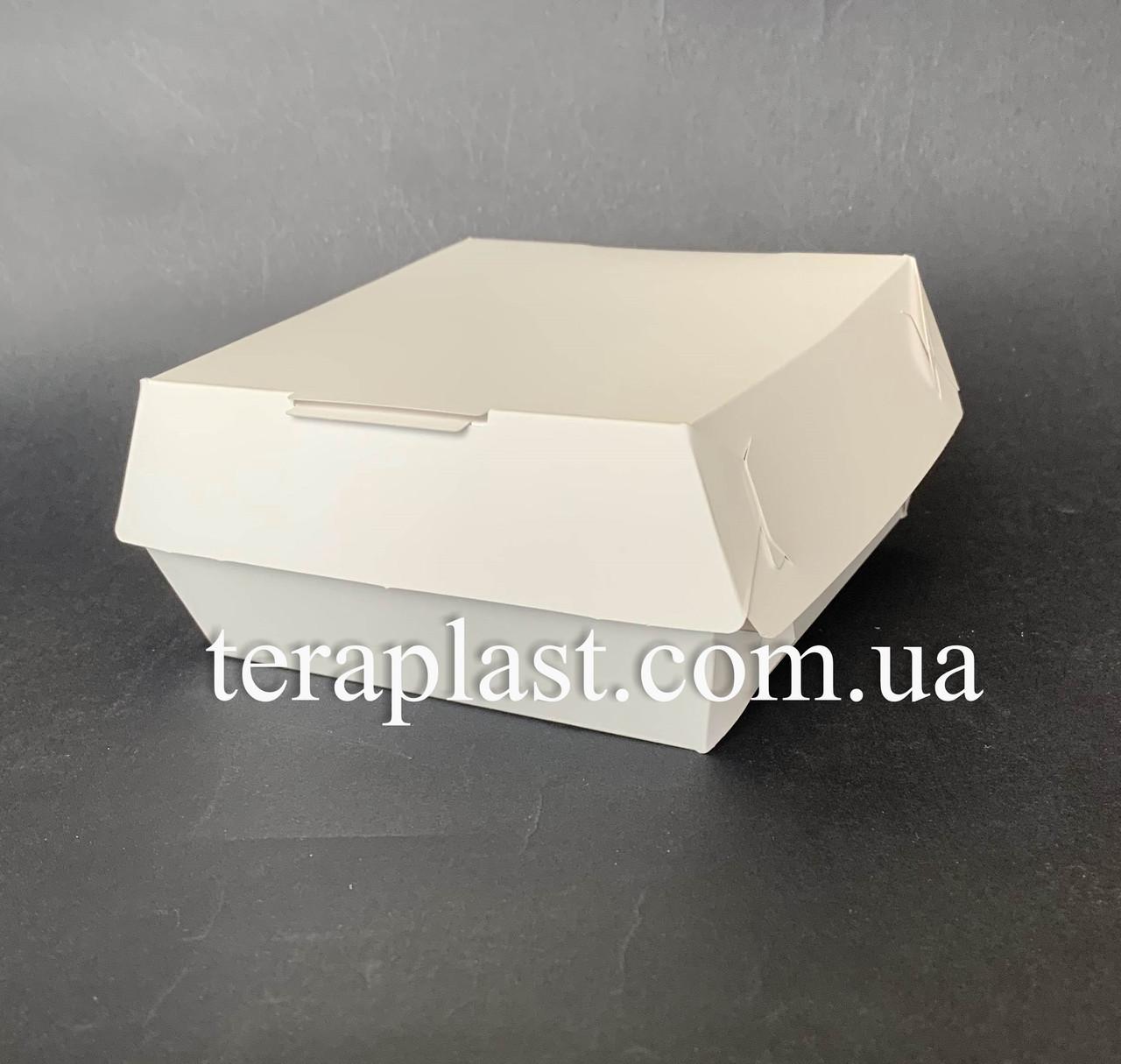 """Коробка для бургеров, сендвичей """"Миди"""" 110х110х65 мм (Белая)"""