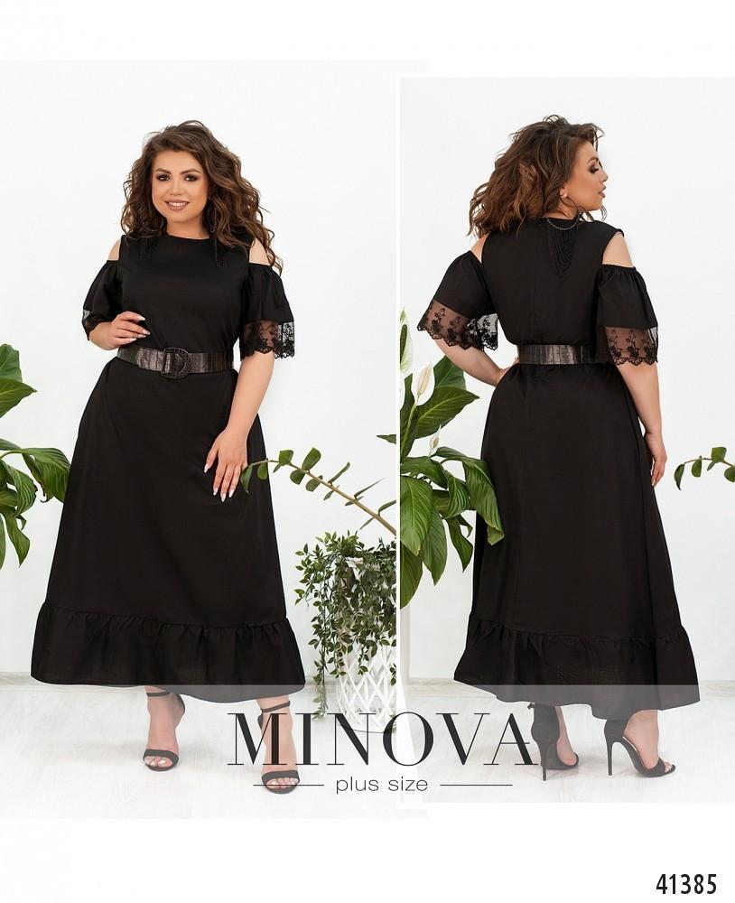 Летнее черное платье из коттона длинное батал Размеры: 50.52.54.56.58.60
