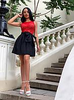 Платье женское черное с красным