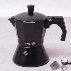 Кофеварка гейзерная Kamille 150 мл (3 порции) алюминиевая с широким индукционным дном КМ 2511