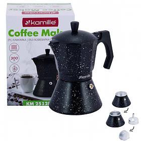 Кофеварка гейзерная Kamille 300 мл (6 порции) алюминиевая с широким индукционным дном КМ 2512MR