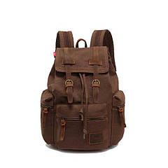 Рюкзак городской винтажный брезентовый Augur коричневый