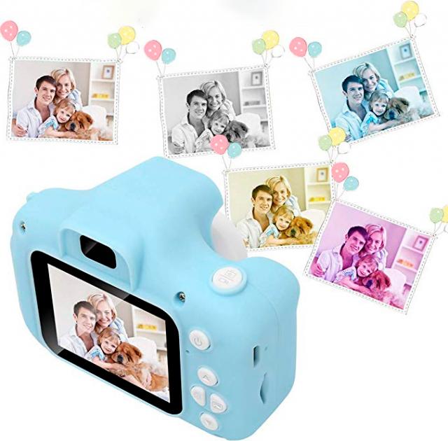 """Цифровий дитячий фотоапарат дисплей 2"""" функція фото і відео Full HD UKC GM14 блакитний"""