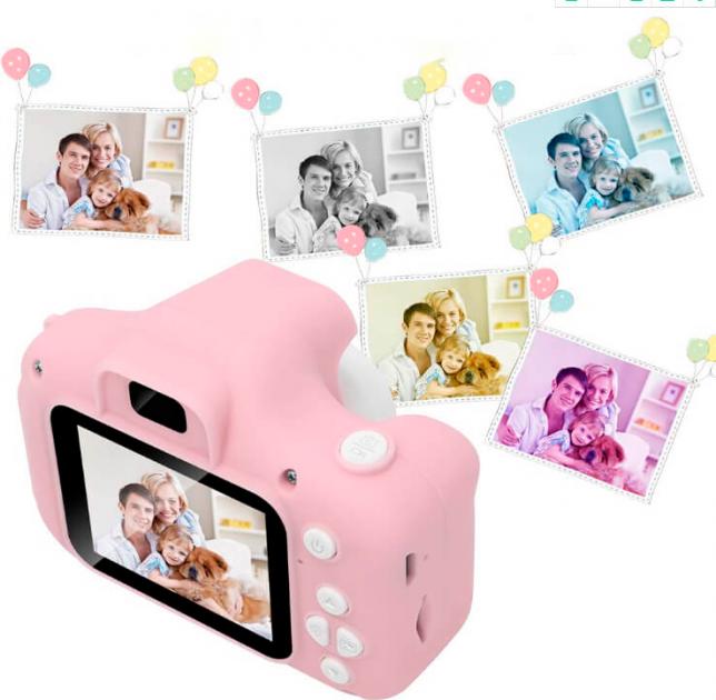 """Цифровий дитячий фотоапарат дисплей 2"""" функція фото і відео Full HD UKC GM14 рожевий"""