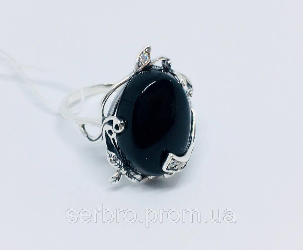 Срібний перстень з оніксом і цирконом Ностальгія