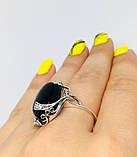 Срібний перстень з оніксом і цирконом Ностальгія, фото 7