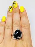Срібний перстень з оніксом і цирконом Ностальгія, фото 8