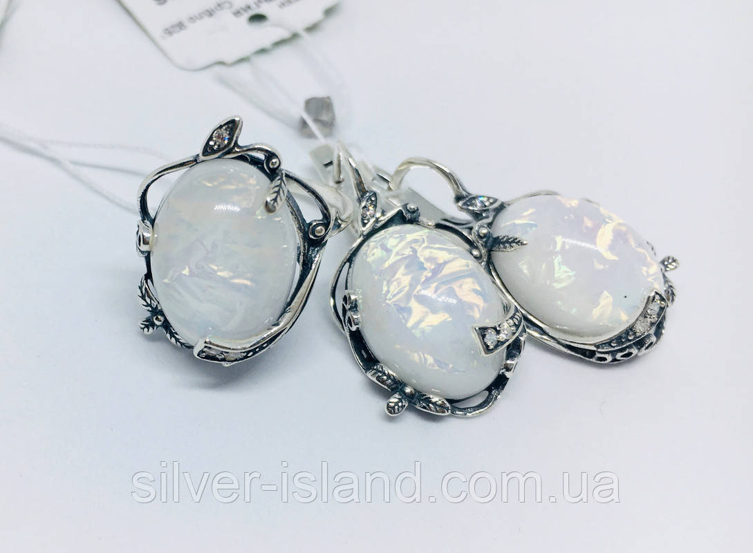 Срібний набір з білим опалом Ностальгія