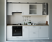 Кухня з фасадами з пластику на основі МДФ довільної конфігурації. На фото - 2,5 м