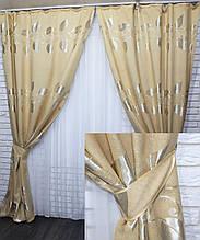 Комплект готовых штор из ткани лён золотистый 426-18