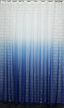"Тюль растяжка ""Омбре"" на батисте (под лён) с утяжелителем, цвет синий с белым 507т"