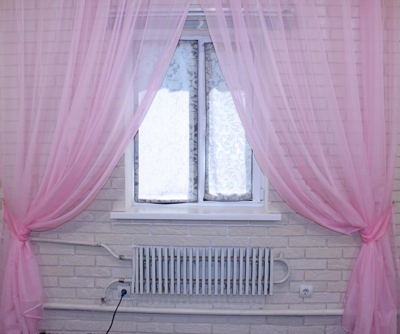 Комплект декоративных штор из шифона, цвет розовый. 006дк
