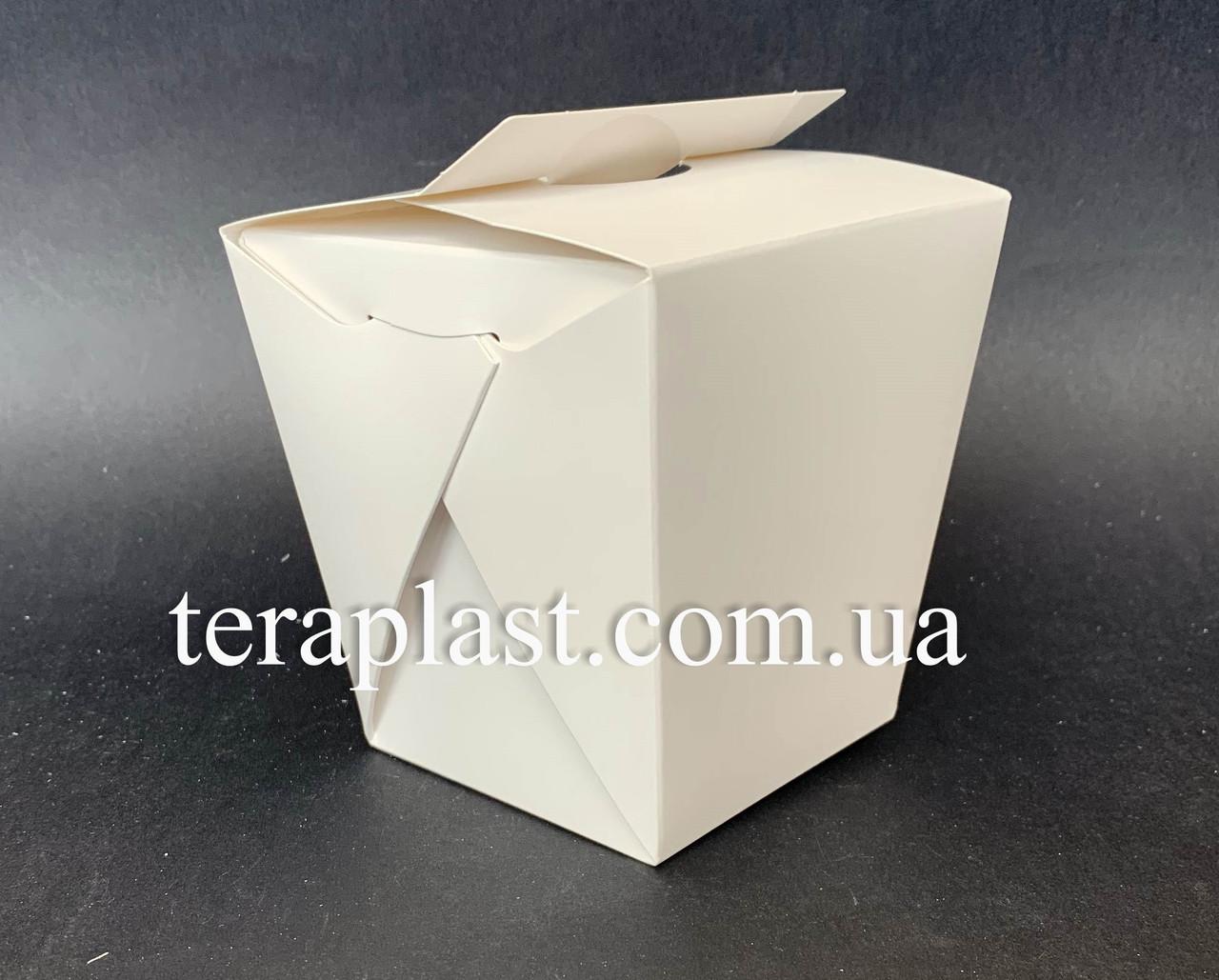"""Коробка для лапши и салатов (Паста Бокс) """"Миди"""" 400 мл (Белая)"""