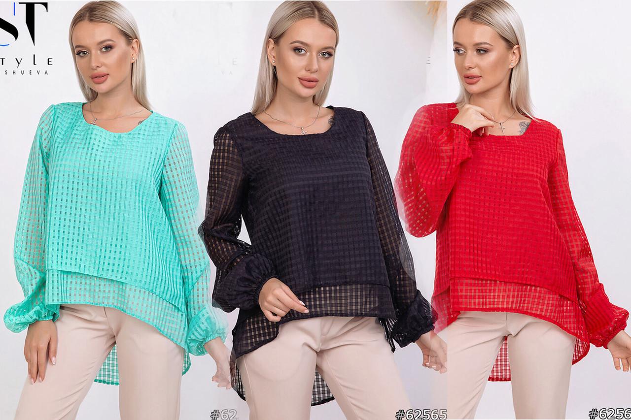 Суперстильная блузка с асимметричным низом /разные цвета, 42-46, ST-62563/