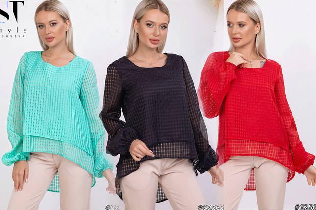 Суперстильная блузка с асимметричным низом /разные цвета, 42-46, ST-62563/, фото 2