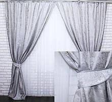 Комплект штор из жаккарда светло – серый 443-18
