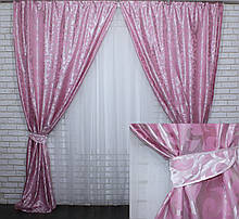"Комплект готових жакардових штор ""Вензель"" Колір рожевий Код 476ш"